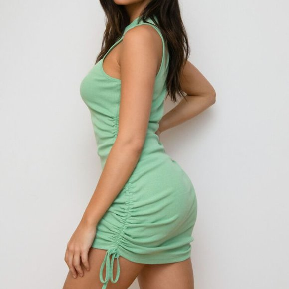 Garage mint green ribbed body con dress ruched